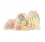 MB9012 - 3-pieces cotton grocery bag set with mesh on 1 side. Min 250 pcs
